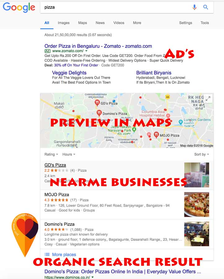 Near by search result in Google India - Screen shopt