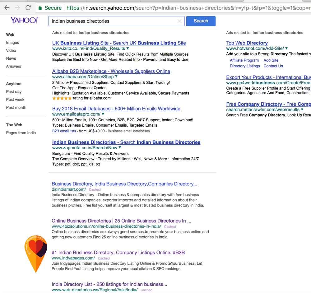 Yahoo search result business listing sites in India