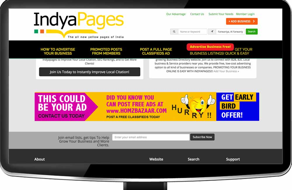 Footer display banner hom page -  indyapages